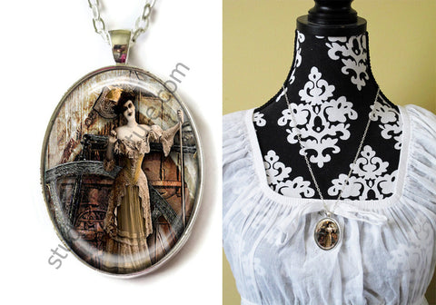 FREE Shipping Silver Plated Metal and Chain Necklace Gothic Steampunk. ZOMBIE STEAMPUNK 20.6
