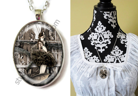 FREE Shipping Silver Plated Metal and Chain Necklace Gothic Steampunk. ZOMBIE STEAMPUNK 20.8