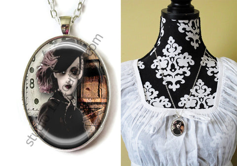FREE Shipping Silver Plated Metal and Chain Necklace Gothic Steampunk. ZOMBIE STEAMPUNK 20.12