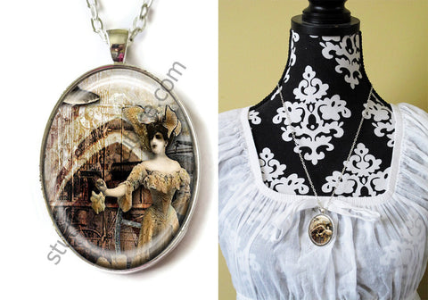 FREE Shipping Silver Plated Metal and Chain Necklace Gothic Steampunk. ZOMBIE STEAMPUNK 20.13