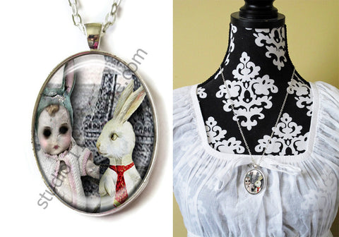 FREE Shipping Silver Plated Metal and Chain Necklace Gothic Steampunk. ZOMBIE STEAMPUNK 20.24