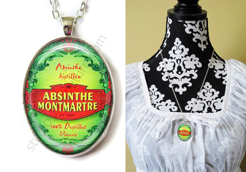 FREE Shipping Silver or Brass Plated Metal and Chain Necklace Gothic Steampunk. ABSINTHE 1.17B