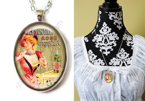 FREE Shipping Silver or Brass Plated Metal and Chain Necklace Gothic Steampunk. ABSINTHE 1.23