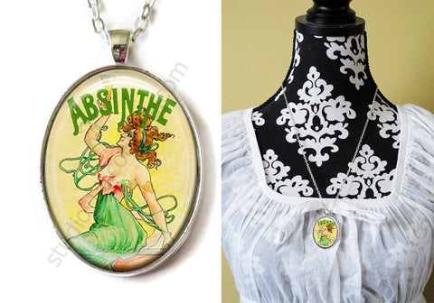FREE Shipping Silver or Brass Plated Metal and Chain Necklace Gothic Steampunk. ABSINTHE 1.16B