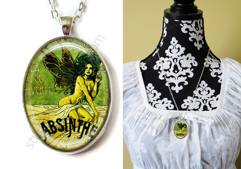 FREE Shipping Silver or Brass Plated Metal and Chain Necklace Gothic Steampunk. ABSINTHE 1.22B