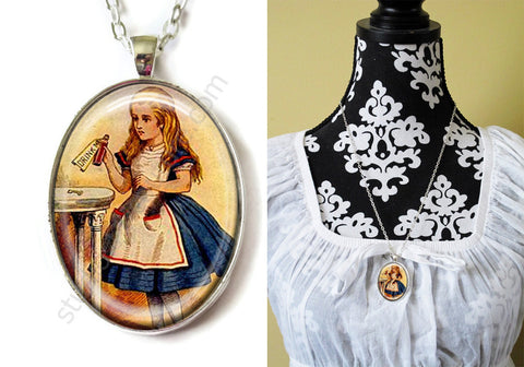 FREE Shipping Silver or Brass Plated Metal and Chain Necklace Gothic Steampunk. Alice in Wonderland 1 Classic, YOU PICK