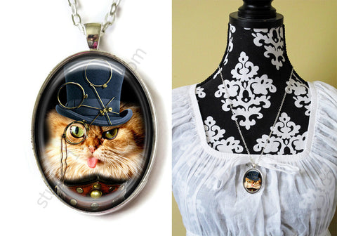 FREE Shipping Silver or Brass Plated Metal and Chain Necklace Gothic Steampunk. CATS 9 Steampunk. 1
