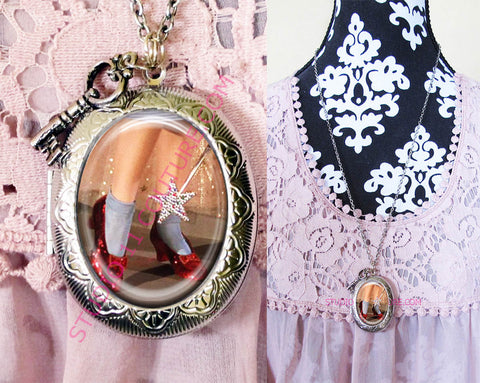 FREE SHIPPING Large Silver Plated Locket Necklace Dorothy Ruby Slippers Wizard of Oz WOZM. 9