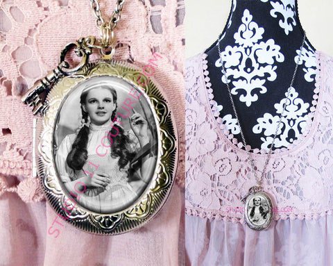 FREE SHIPPING Large Silver Plated Locket Necklace Dorothy Wizard of Oz WOZM. 8