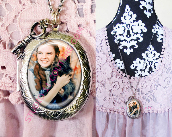FREE SHIPPING Large Silver Plated Locket Necklace Dorothy Wizard of Oz WOZM. 25