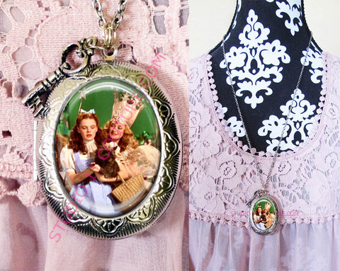 FREE SHIPPING Large Silver Plated Locket Necklace Dorothy Wizard of Oz WOZM. 27