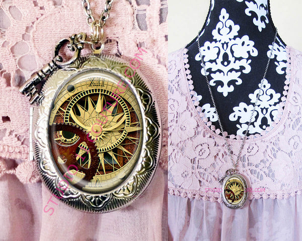 FREE SHIPPING Large Silver Plated Locket Necklace Watch Part Clock Face CLOCK 3.11