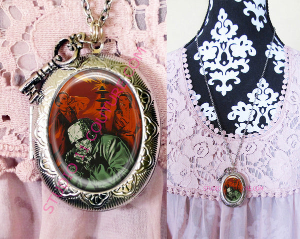 Large Silver Plated Locket Necklace Frankenstein 1.13