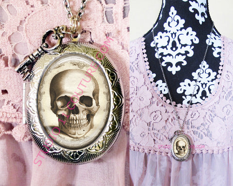 FREE SHIPPING Large Silver Plated Locket Necklace Anatomy 1.3