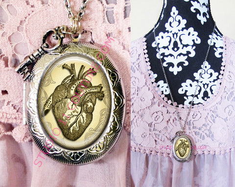 FREE SHIPPING Large Silver Plated Locket Necklace Anatomy 1.5