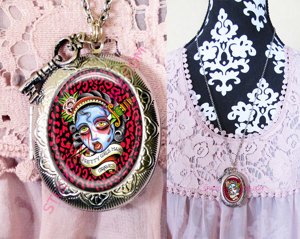 FREE SHIPPING Large Silver Plated Locket Necklace Tattoo Art 8.1