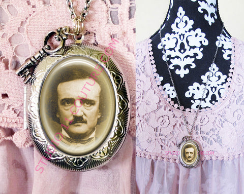 FREE SHIPPING Large Silver Plated Locket Necklace Edgar Allen Poe 1.10