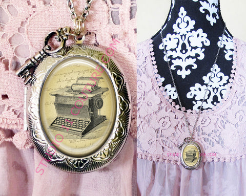 FREE SHIPPING Large Silver Plated Locket Necklace Edgar Allen Poe 1.16