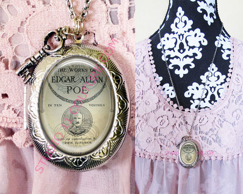 FREE SHIPPING Large Silver Plated Locket Necklace Edgar Allen Poe 1.25