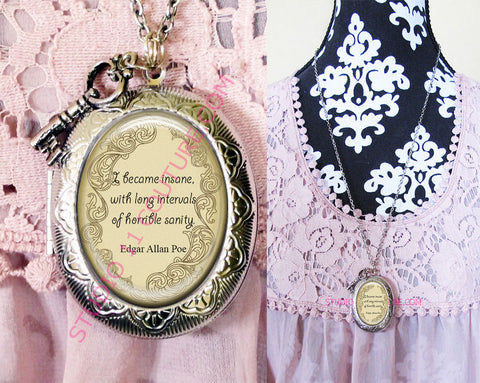 CHOOSE YOUR QUOTE Large Silver Plated Locket Necklace Edgar Allen Poe 6 Quotes