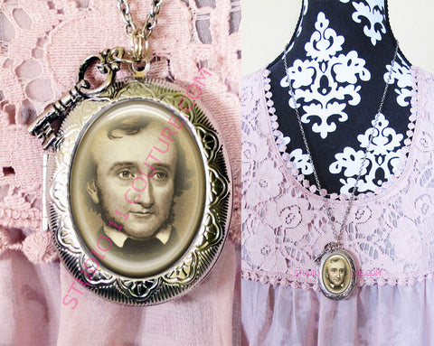 FREE SHIPPING Large Silver Plated Locket Necklace Edgar Allen Poe 1.1