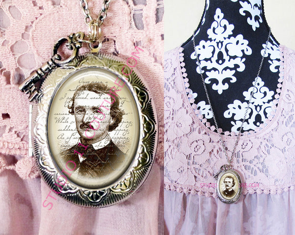 Large Silver Plated Locket Necklace Edgar Allen Poe 1.2