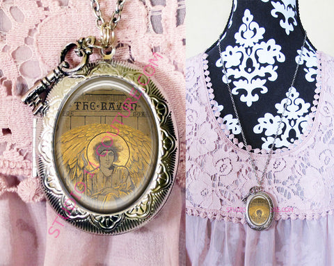 FREE SHIPPING Large Silver Plated Locket Necklace Edgar Allen Poe 1.12