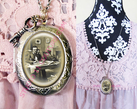 FREE SHIPPING Large Silver Plated Locket Necklace Edgar Allen Poe 1.19