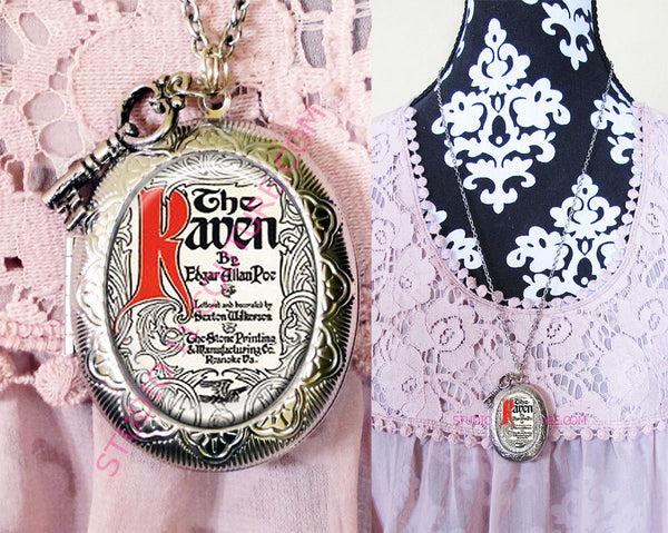 FREE SHIPPING Large Silver Plated Locket Necklace Edgar Allen Poe 3.2