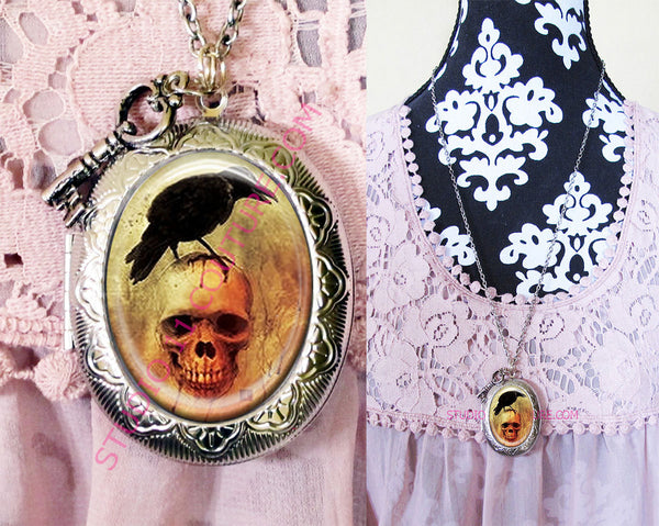 Large Silver Plated Locket Necklace Edgar Allen Poe 3.10