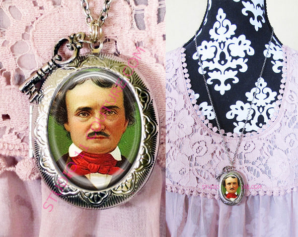 Large Silver Plated Locket Necklace Edgar Allen Poe 3.11
