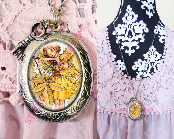 Large Silver Plated Locket Necklace Vintage Flower Fairy 1.1