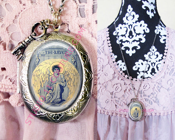 FREE SHIPPING Large Silver Plated Locket Necklace Edgar Allen Poe 5.25