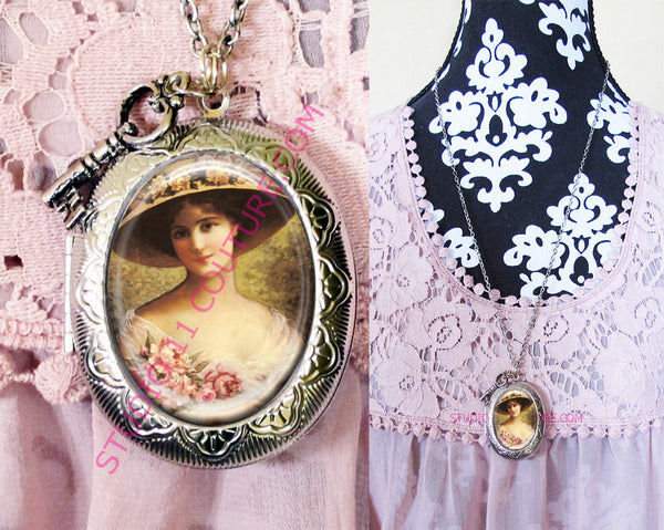FREE SHIPPING Large Silver Plated Locket Necklace Vintage Victorian Lady EMV1.24