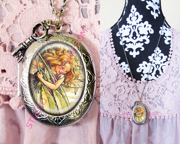 FREE SHIPPING Large Silver Plated Locket Necklace Vintage Flower Fairy 1.10