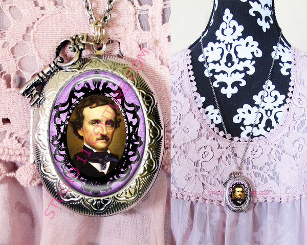 Large Silver Plated Locket Necklace Edgar Allen Poe 5.11