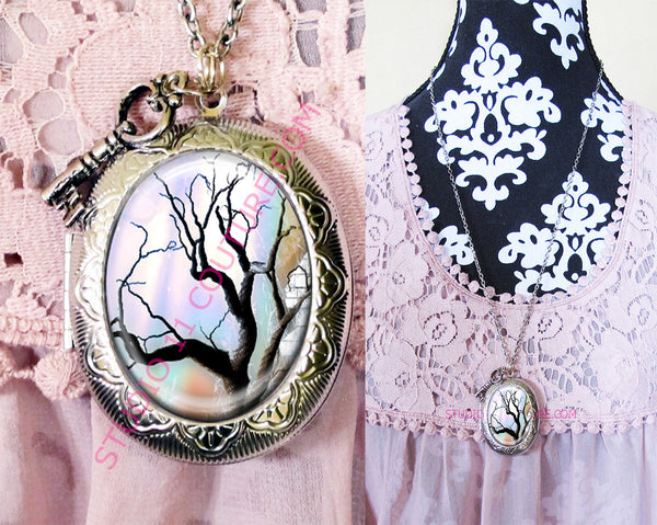Large Silver Plated Locket Necklace Gothic TREE 3.13