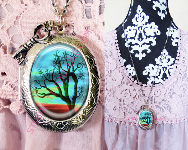 Large Silver Plated Locket Necklace Gothic TREE 3.25