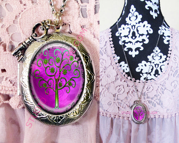 Large Silver Plated Locket Necklace Gothic TREE 4.2