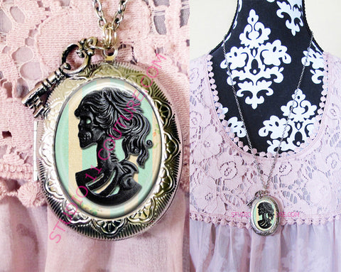 FREE SHIPPING Large Silver Plated Locket Necklace Black Skull Bling 1.3