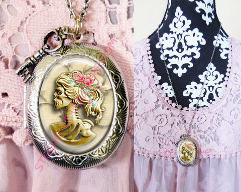 FREE SHIPPING Large Silver Plated Locket Necklace Corpse Bride Skull Bling 1.10