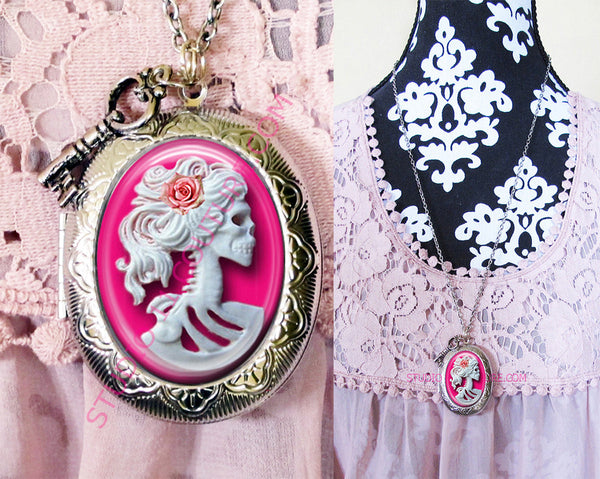 FREE SHIPPING Large Silver Plated Locket Necklace Pink Haunted Lady Skull Bling 1.7