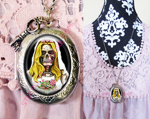 FREE SHIPPING Large Silver Plated Locket Necklace Corpse Bride Skull Bling 1.11