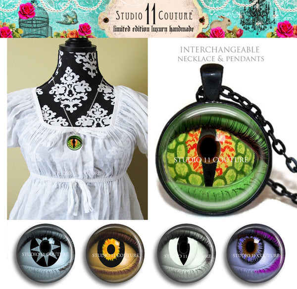 FREESHIPPING Metal MAGNETIC INTERCHANGEABLE Necklace Set and Cameos Eyes 1.1-5