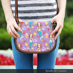 Mermaid Under The Sea Purple Crossbody Shoulder Canvas Leather Saddle Bag