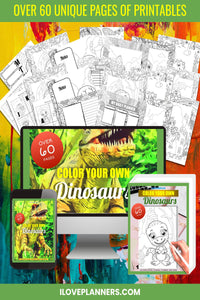Dinosaurs/ Printable Coloring Kit/ Planner and Journal/ Coloring Book/ Coloring Planner/ Printable Planner and Journal/ Journal, Planner, DIY, Print At Home, Digital Download