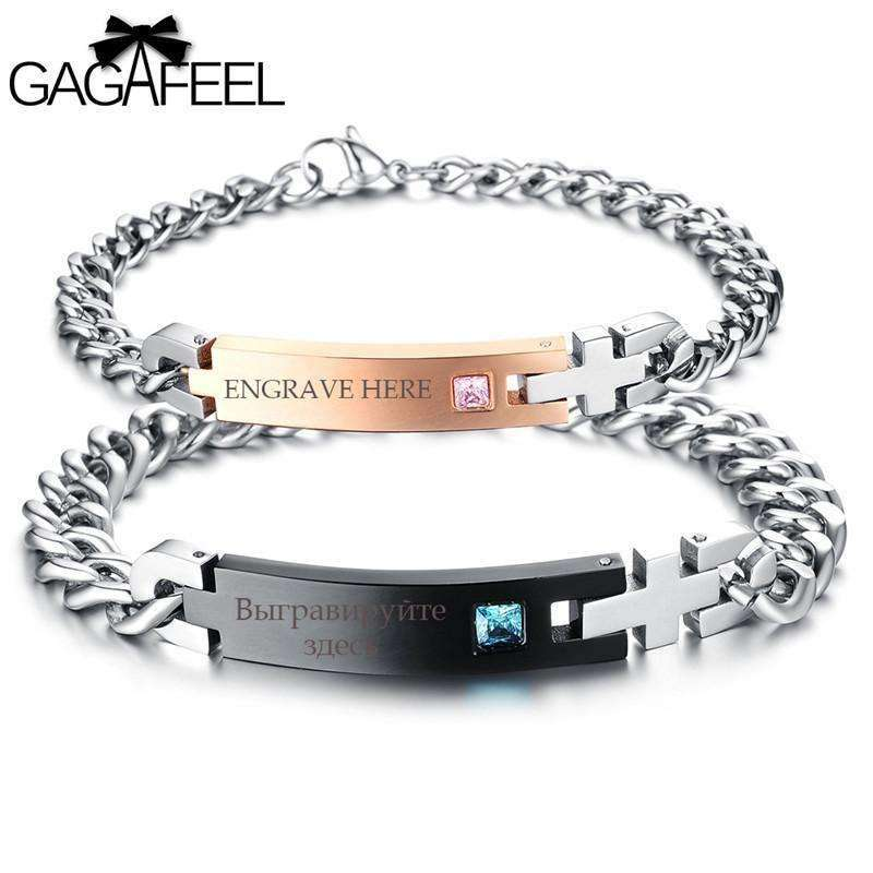 GAGAFEEL New Custom Stainless Steel Bracelets For Women Men Jewelry Charm Crystal Zircon Letter DIY Bangles Valentines Day Gifts