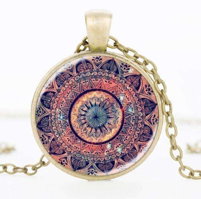 SUTEYI Newest Design Yoga Necklace Art Gift Splendor of Color Kaleidoscope Mandala Necklaces Glass Cabochon Pendant Jewelry - STUDIO 11 COUTURE