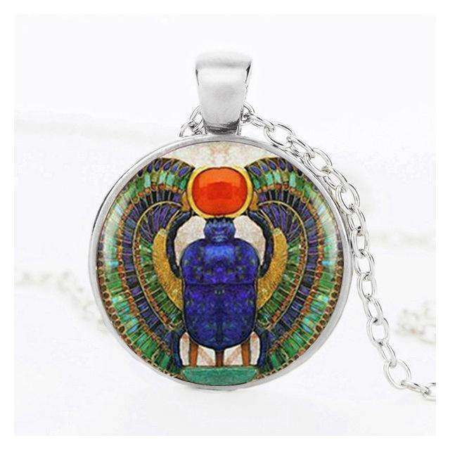 SUTEYI Vintage Glass Cabochon Egyptian Necklace Scarab Crystal Pendant Choker Ancient Egypt Jewelry Egypt Necklaces For Women - STUDIO 11 COUTURE