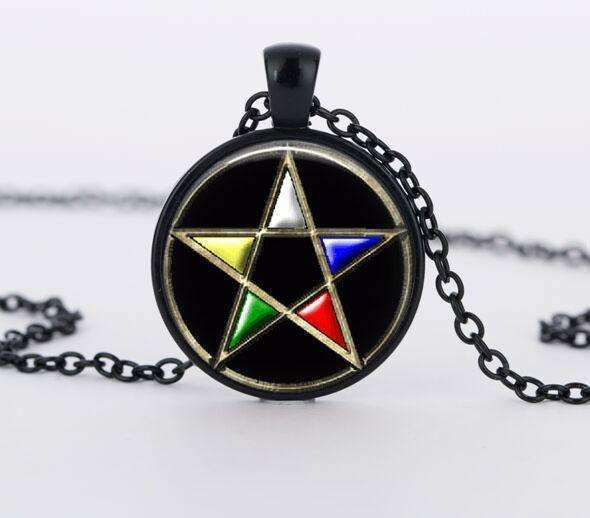 SUTEYI Bestselling Purple Pentagram Necklace Mens Witchcraft Glass Dome Picture Pendant Hidden Charm Handmade Necklaces Jewelry - STUDIO 11 COUTURE
